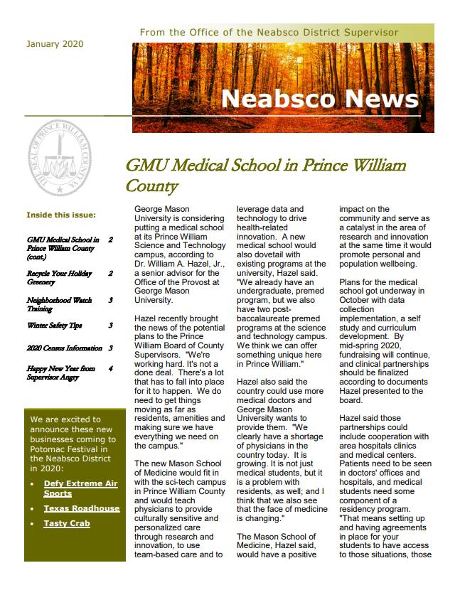 Neabsco News Letter January 2020
