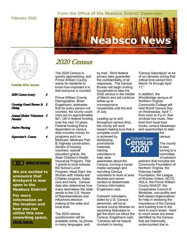Neabsco Newsletter February 2020
