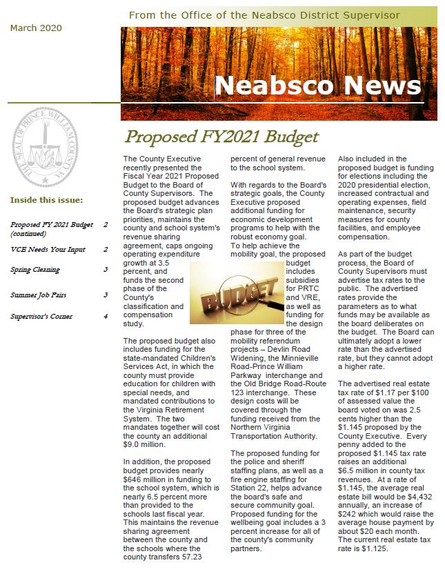 Neabsco Newsletter March 2020