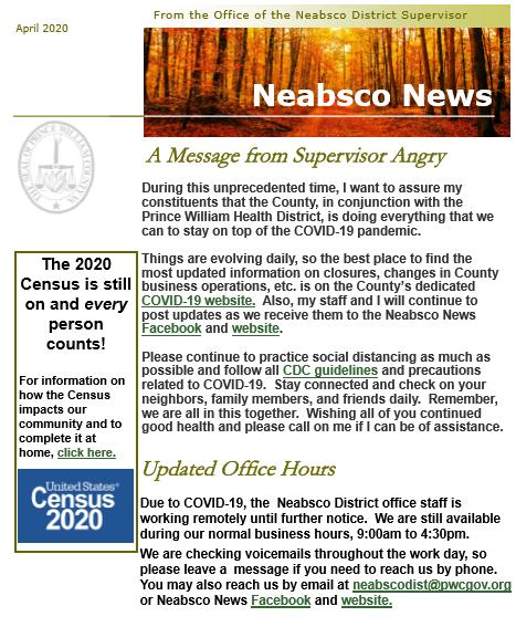 Neabsco Newsletter April 2020