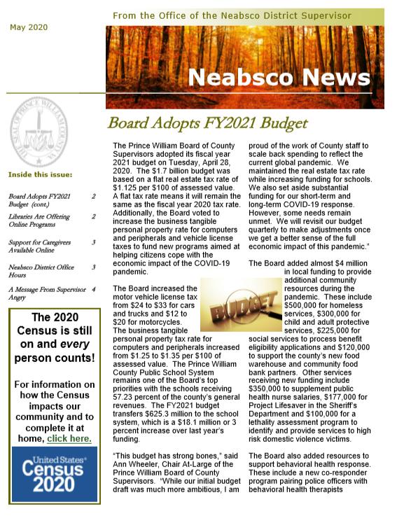 Neabsco Newsletter May 2020