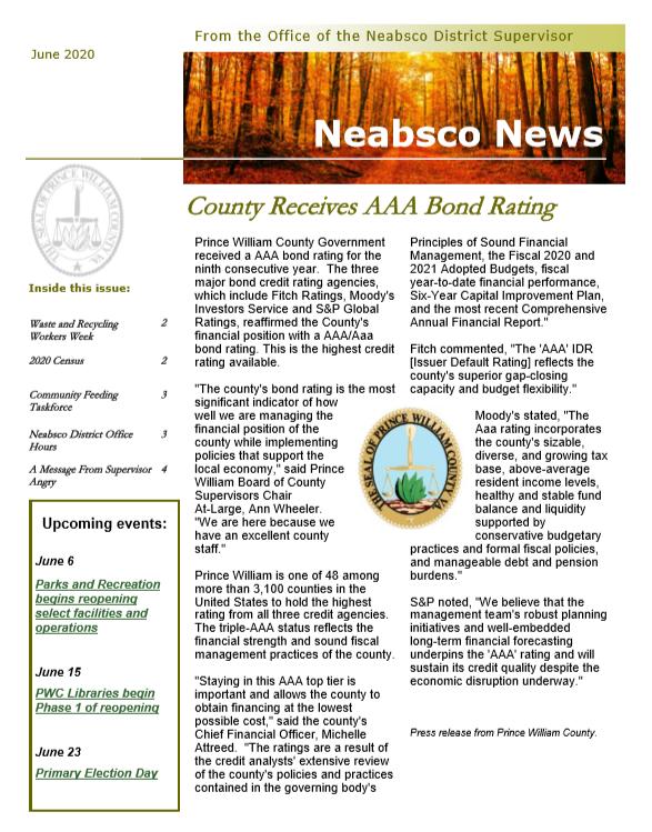 Neabsco Newsletter June 2020