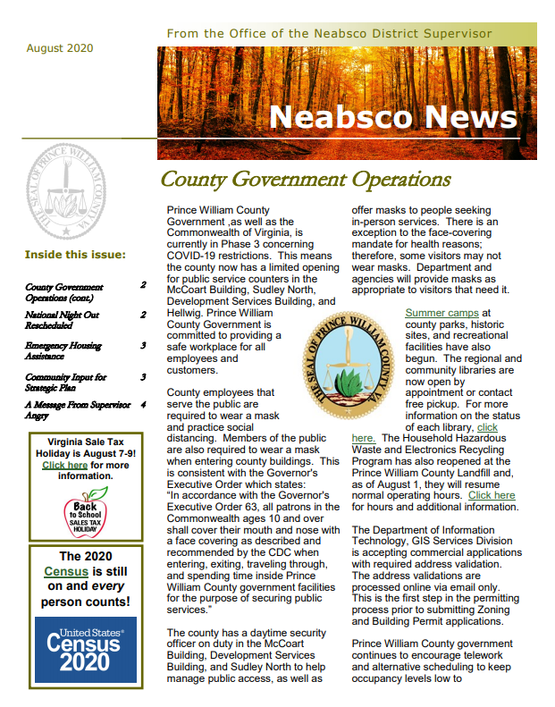 Neabsco Newsletter August 2020