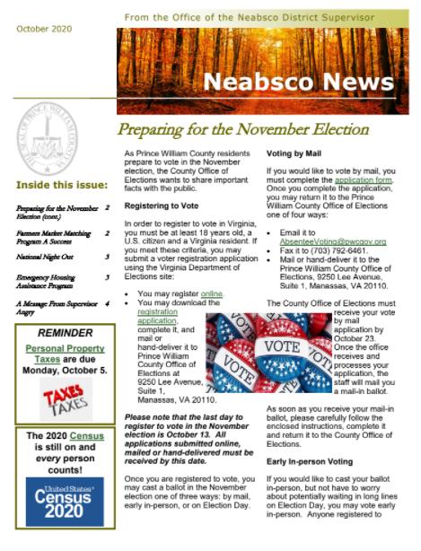 Neabsco Newsletter October 2020
