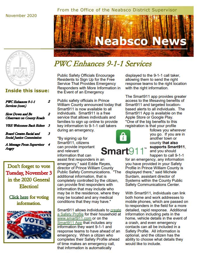 Neabsco Newsletter November 2020