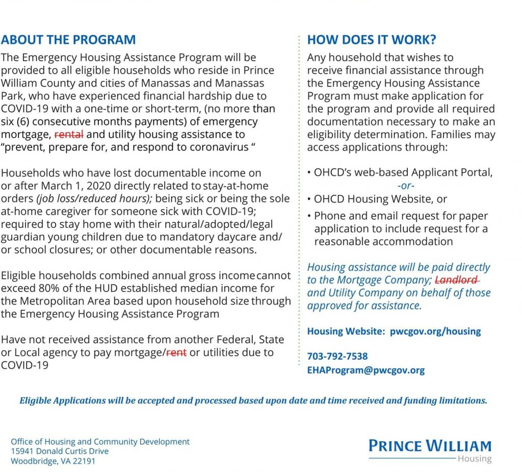 Revised February 22nd COVID19 Emergency Mortgage and Utility Housing Assistance Program