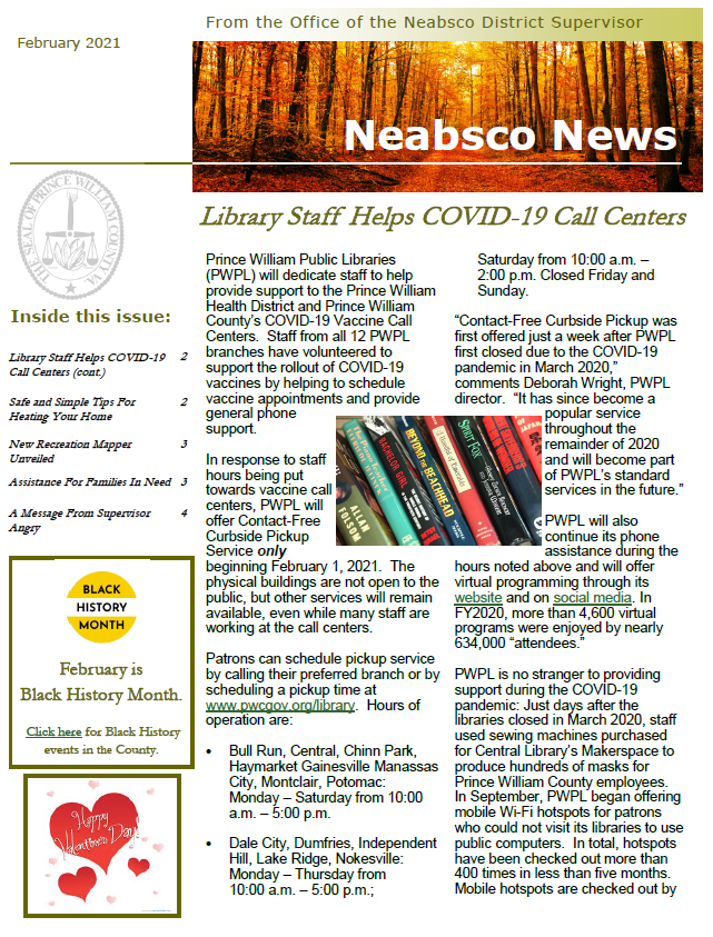 Neabsco Newsletter February 2021