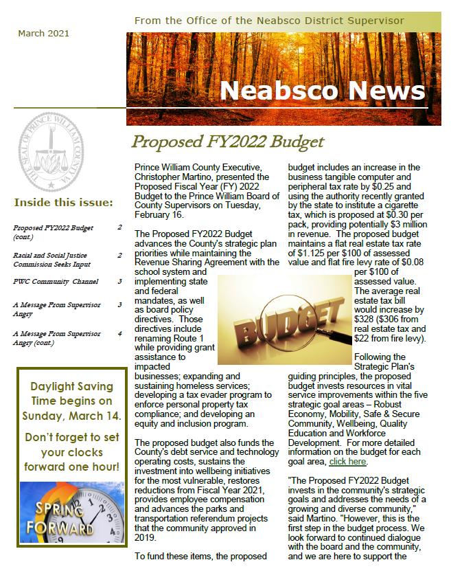 Neabsco Newsletter March 2021