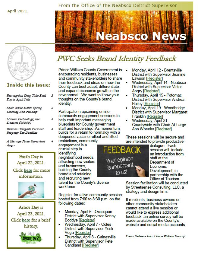 Neabsco Newsletter April 2021