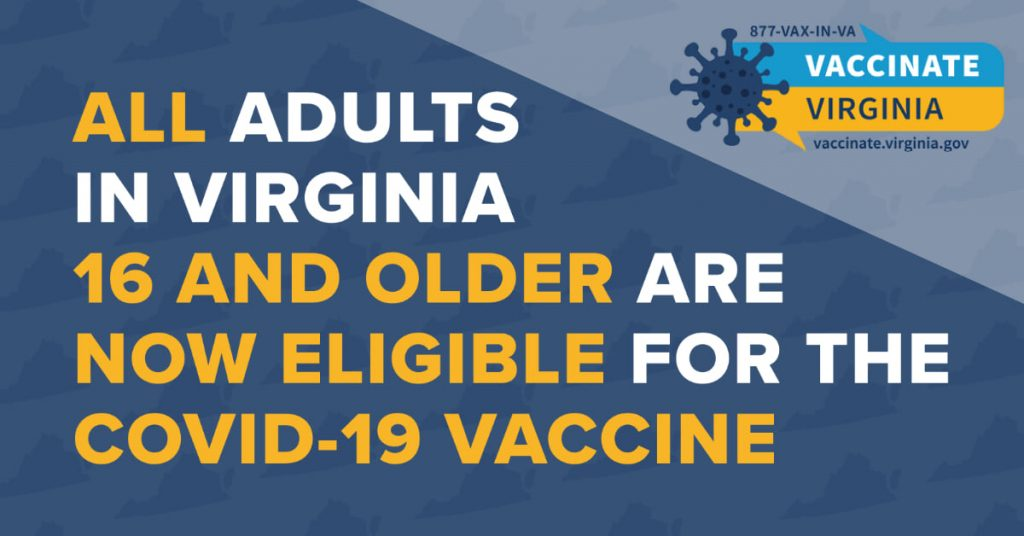 2021 All Adults In Virginia 16 and Older Eligible For Vaccine