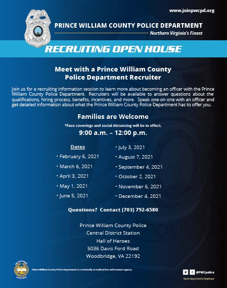 2021 Prince William County Police Department Recruitment May 1st