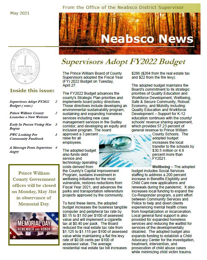 Neabsco Newsletter May 2021