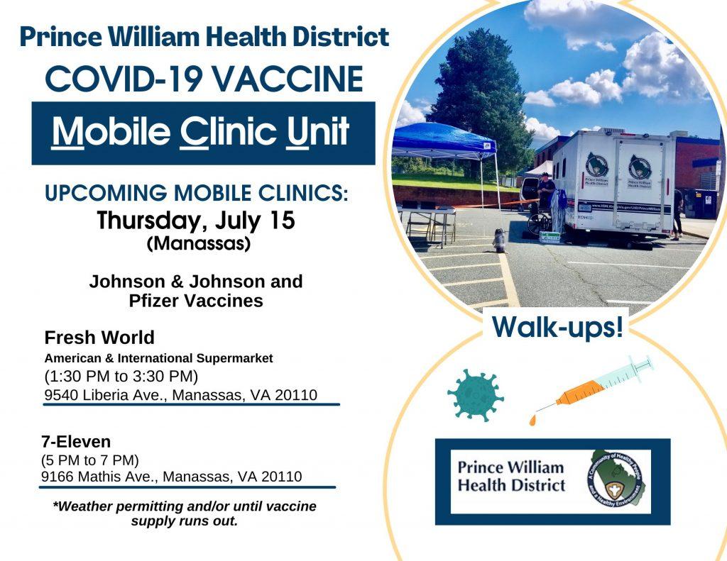 Prince William Health District Mobile Clinic Unit COVID19 Vaccine