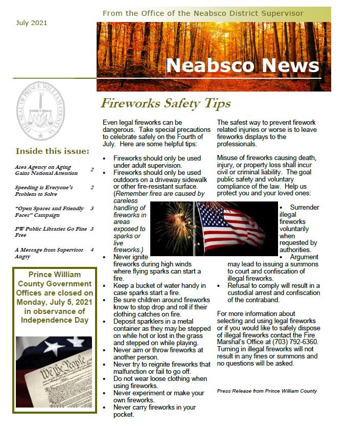 Neabsco Newsletter July 2021
