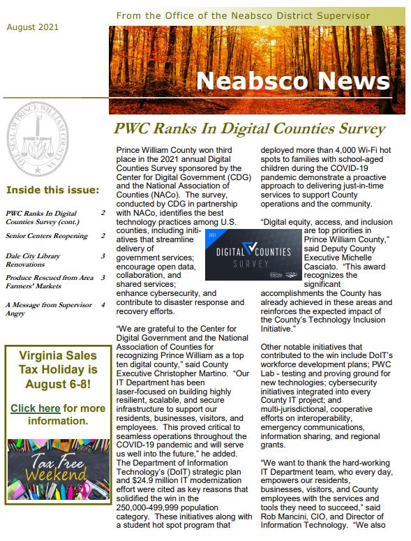 Neabsco Newsletter August 2021