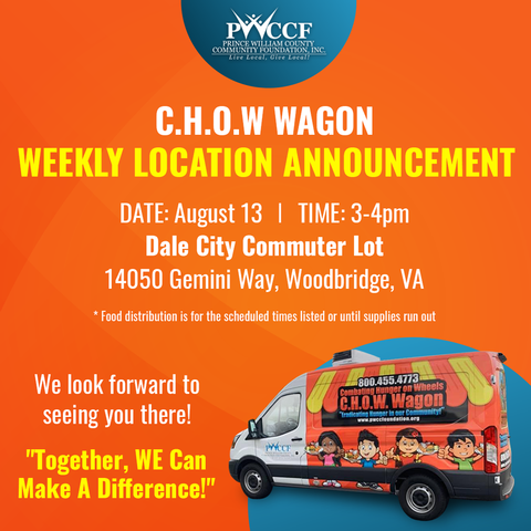 The Chow Wagon Will Be Here, August 13th at the Dale City Commuter Lot