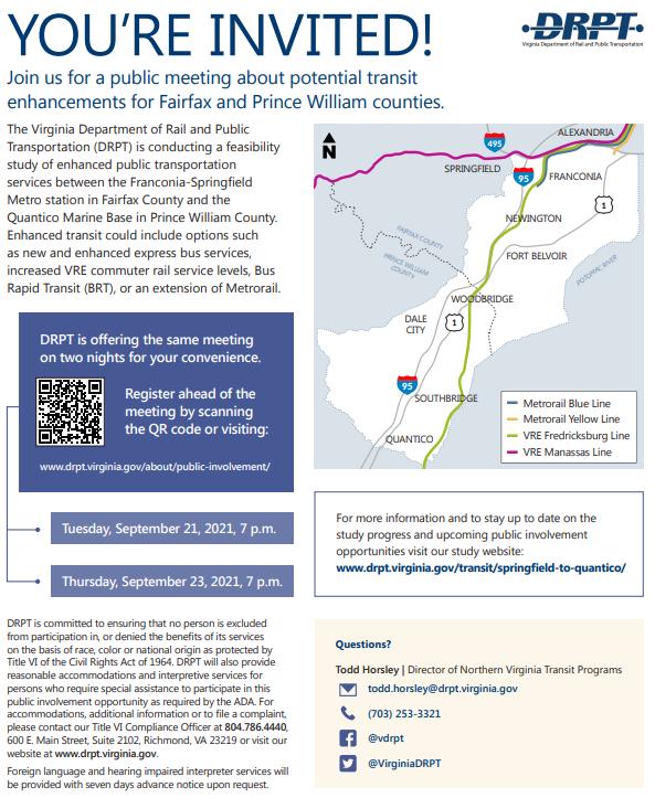 Virginia Department of Rail and Publics Transportation Public Meeting